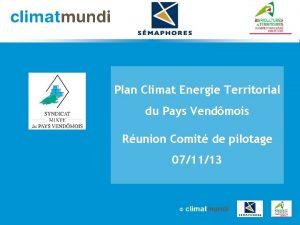 Plan Climat Energie Territorial du Pays Vendmois Runion