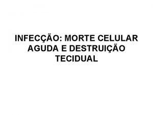 INFECO MORTE CELULAR AGUDA E DESTRUIO TECIDUAL INFECO