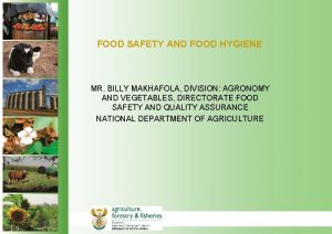 FOOD SAFETY AND FOOD HYGIENE MR BILLY MAKHAFOLA