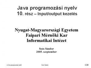 Java programozsi nyelv 10 rsz Inputoutput kezels NyugatMagyarorszgi