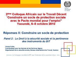 Bureau international Du Travail 2me Colloque Africain sur