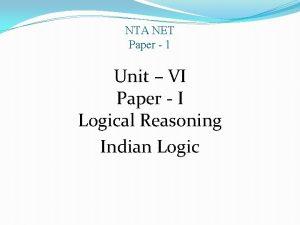 NTA NET Paper 1 Unit VI Paper I