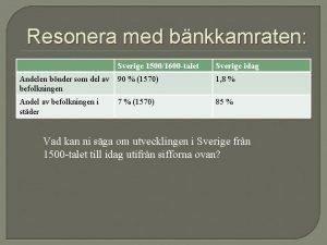Resonera med bnkkamraten Sverige 15001600 talet Sverige idag