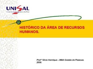 HISTRICO DA REA DE RECURSOS HUMANOS Prof Elcio