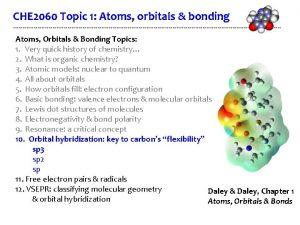 CHE 2060 Topic 1 Atoms orbitals bonding Atoms