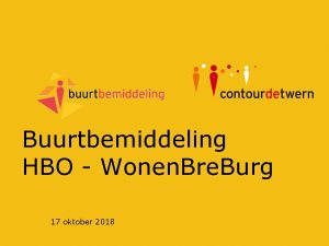 Buurtbemiddeling HBO Wonen Bre Burg 17 oktober 2018