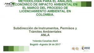 METODOLOGA PARA EL ANLISIS ECONMICO DE IMPACTO AMBIENTAL