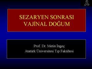 SEZARYEN SONRASI VAJNAL DOUM Prof Dr Metin nge