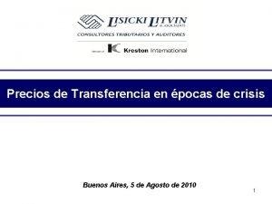 Precios de Transferencia en pocas de crisis Buenos