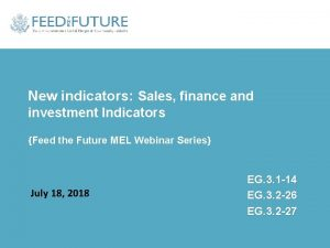 New indicators Sales finance and investment Indicators Feed