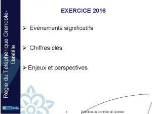 Rgie du Tlphrique Grenoble Bastille EXERCICE 2016 Evnements