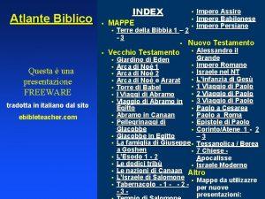 Atlante Biblico INDEX MAPPE Terre della Bibbia 1