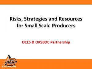 Risks Strategies and Resources for Small Scale Producers