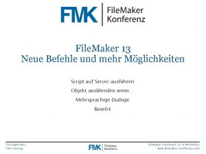 File Maker 13 Neue Befehle und mehr Mglichkeiten