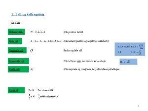 1 Tall og tallregning 1 1 Tall Naturlige