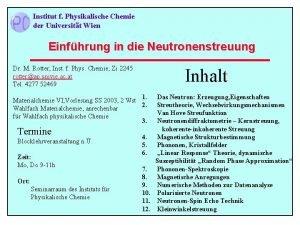 Institut f Physikalische Chemie der Universitt Wien Einfhrung