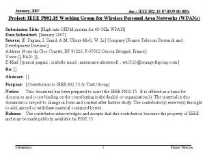 January 2007 doc IEEE 802 15 07 0539