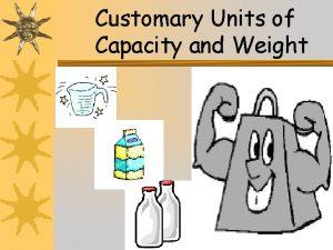 Customary Units of Capacity and Weight 1 Customary