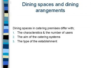 Dining spaces and dining arangements Dining spaces in
