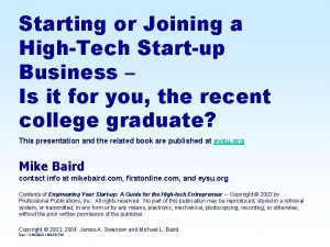 Starting or Joining a HighTech Startup Business Is