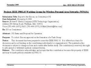 November 1999 doc IEEE 802 15 99119 r