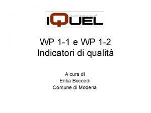 WP 1 1 e WP 1 2 Indicatori