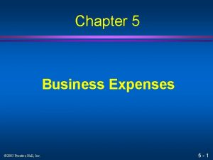 Chapter 5 Business Expenses 2005 Prentice Hall Inc