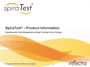 Spira Test Product Information Requirements Test Management and