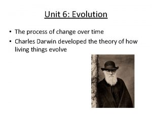 Unit 6 Evolution The process of change over