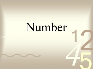 Number Counting Numbers Also known as Natural numbers
