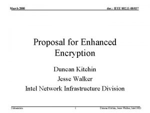 March 2000 doc IEEE 802 11 00037 Proposal