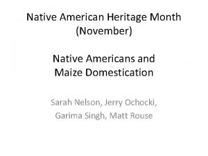 Native American Heritage Month November Native Americans and
