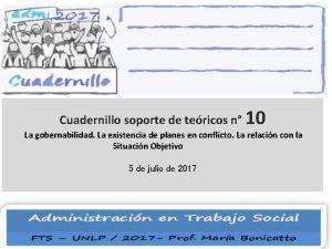 Cuadernillo soporte de tericos n 10 La gobernabilidad