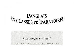 Une langue vivante Atelier 5 Catherine Taconet Lyce