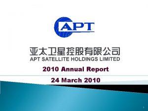 2010 Annual Report 24 March 2010 1 Agenda