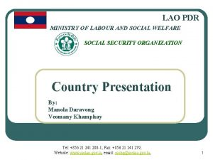LAO PDR MINISTRY OF LABOUR AND SOCIAL WELFARE