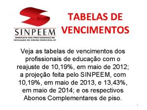 TABELAS DE VENCIMENTOS Veja as tabelas de vencimentos