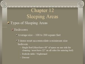 Chapter 12 Sleeping Areas Types of Sleeping Areas