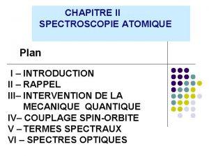 CHAPITRE II SPECTROSCOPIE ATOMIQUE Plan I INTRODUCTION II