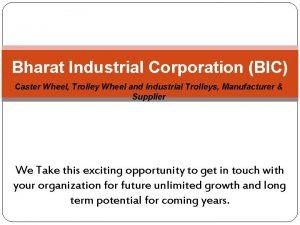Bharat Industrial Corporation BIC Caster Wheel Trolley Wheel