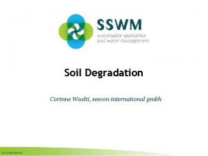 Soil Degradation Corinne Waelti seecon international gmbh Soil