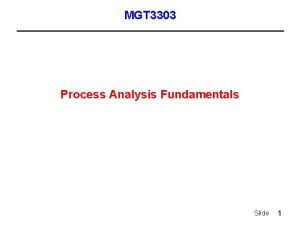 MGT 3303 Process Analysis Fundamentals Slide 1 Process