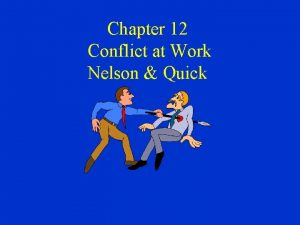 Chapter 12 Conflict at Work Nelson Quick Nature
