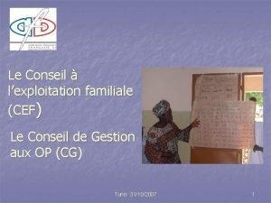 Le Conseil lexploitation familiale CEF Le Conseil de