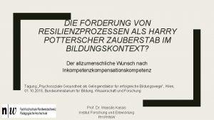 DIE FRDERUNG VON RESILIENZPROZESSEN ALS HARRY POTTERSCHER ZAUBERSTAB