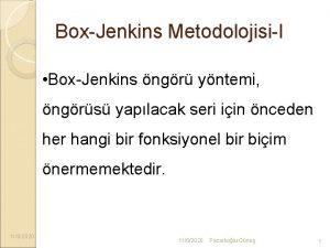 BoxJenkins MetodolojisiI BoxJenkins ngr yntemi ngrs yaplacak seri
