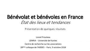 Bnvolat et bnvoles en France tat des lieux
