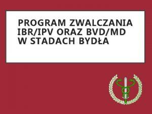 PROGRAM ZWALCZANIA IBRIPV ORAZ BVDMD W STADACH BYDA