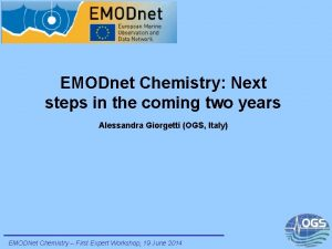 EMODnet Chemistry Next steps in the coming two