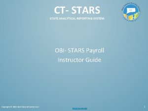 CT STARS STATE ANALYTICAL REPORTING SYSTEM OBI STARS